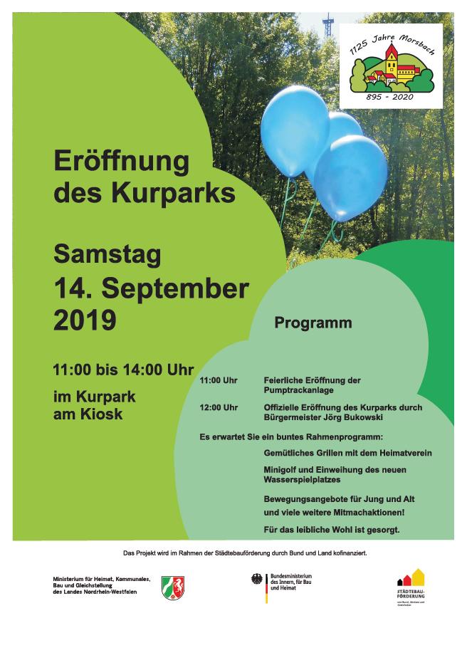Werbeflyer der Gemeinde Morsbach zur Kurpark Eröffnung am 14. Sept. 2019, 11Uhr